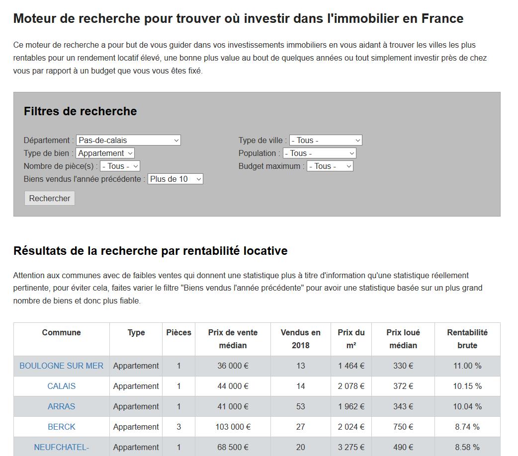 Moteur de recherche pour savoir où investir dans l'immobilier en France